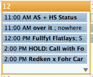 """A screenshot of my calendar today, including the """"over it"""" meeting."""